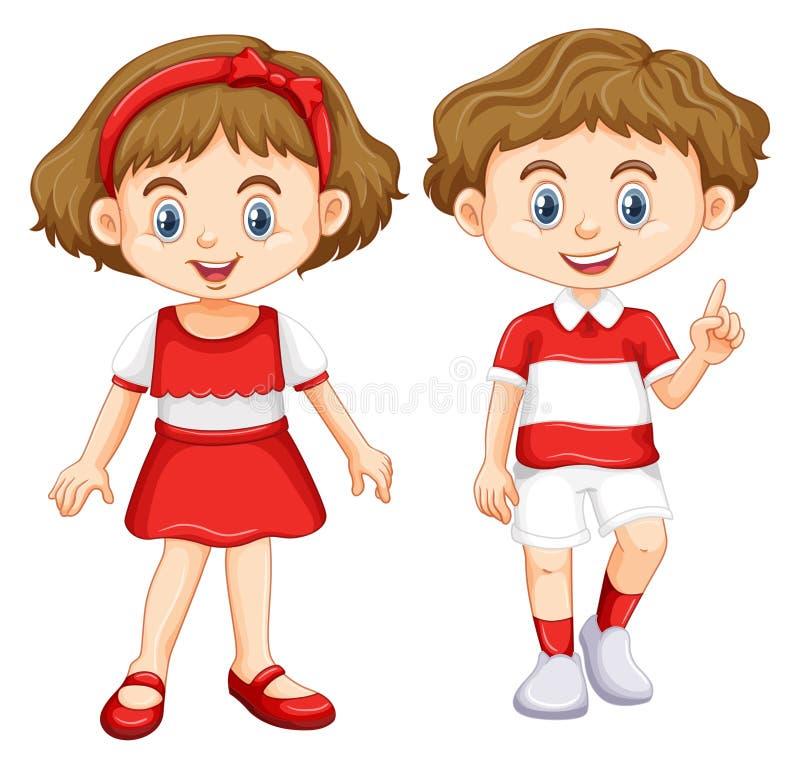 Bärande skjorta för pojke och för flicka med gjorde randig rött och vit royaltyfri illustrationer