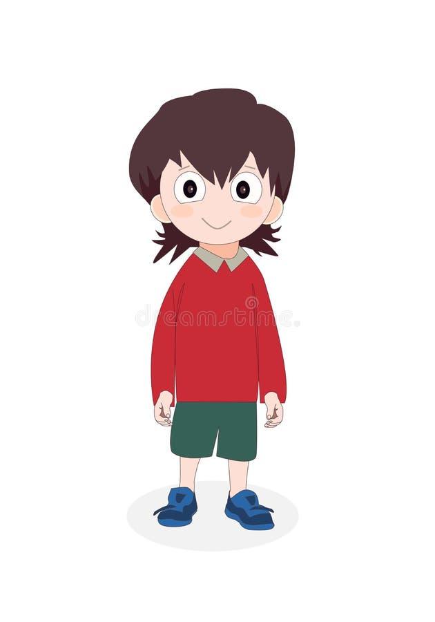 Bärande skolalikformig för pojke, gulligt tecknad filmungetecken också vektor för coreldrawillustration royaltyfri illustrationer