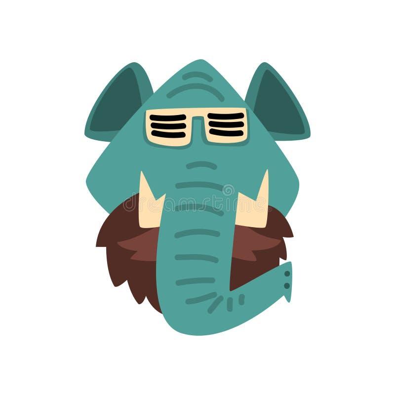 Bärande solglasögon för elefant, för ståendetecknad film för hipster djur illustration för vektor på en vit bakgrund vektor illustrationer