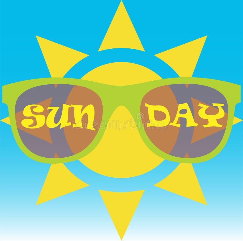 """Bärande solglasögon för sol med texten """"skriftlig soldag"""" på dem royaltyfri illustrationer"""