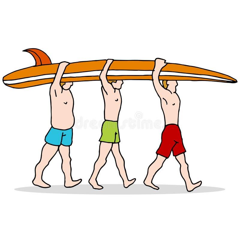 Bärande surfingbräda för folk royaltyfri illustrationer