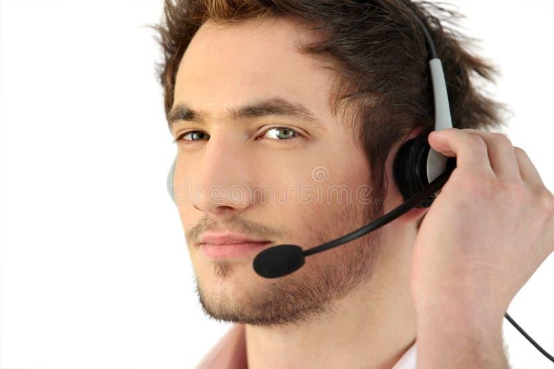 Bärande telefonhuvud-uppsättning för man royaltyfria bilder