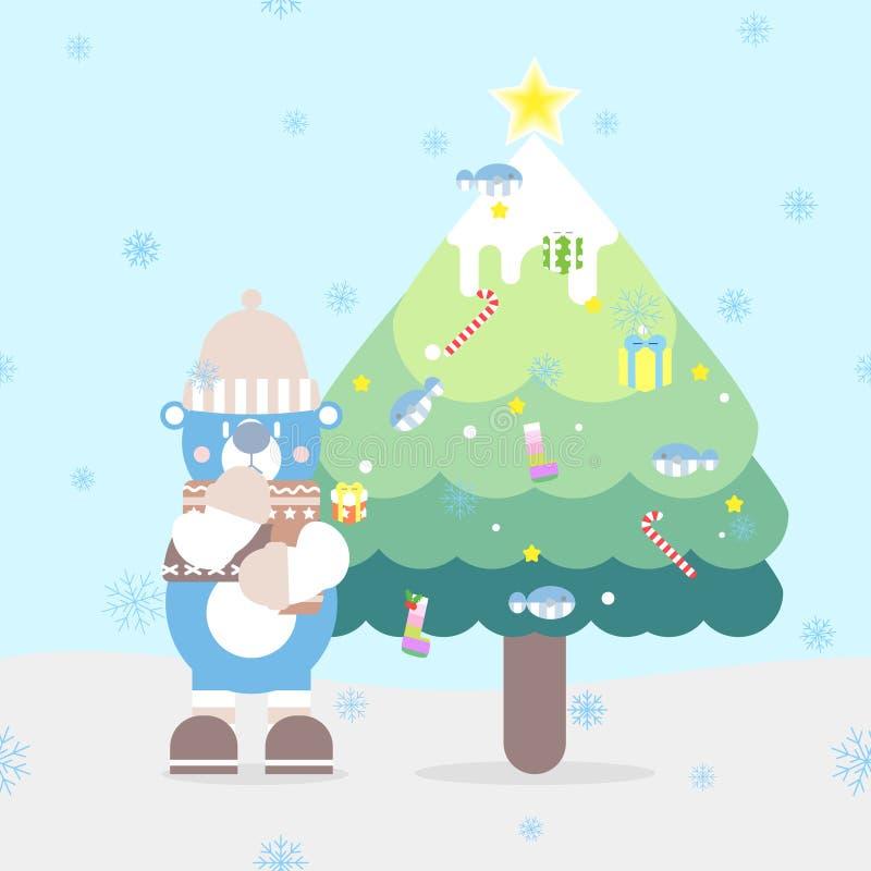 Bärande tröja för nallebjörn, hatt, halsduk i säsongen för vinter för chistmasferiefestival vektor illustrationer