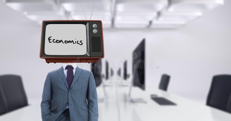 Bärande TV för affärsman på huvudet med nationalekonomitext på skärmen royaltyfri illustrationer