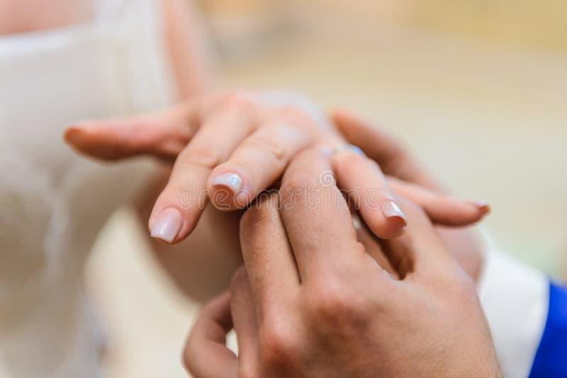 Bärande vigselringar för brud och för brudgum royaltyfri bild