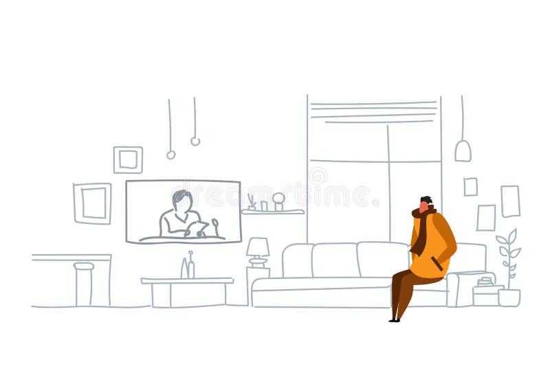 Bärande vinterkläder för man som håller ögonen på klotter för hemmastadd modern vardagsrum för soffa för daglig ett nyhetsprogram stock illustrationer