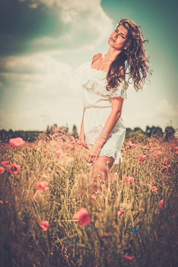 Bärande vit sommarklänning för flicka i den sparade vallmo royaltyfria foton