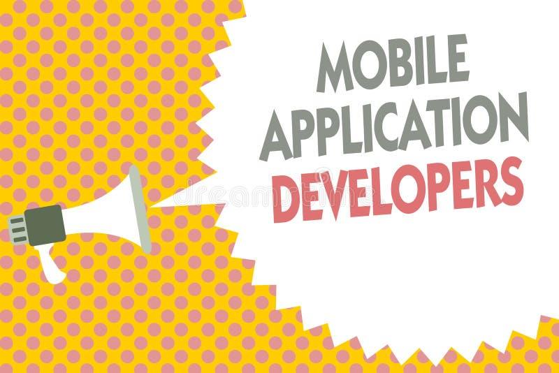 Bärare för applikation för begreppsmässig handhandstilvisning mobila Affärsfototext skapar programvara för apparater som Android  stock illustrationer