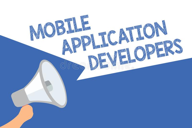 Bärare för applikation för handskrifttext mobila Begreppsbetydelsen skapar programvara för apparater som spe för den Android mega stock illustrationer