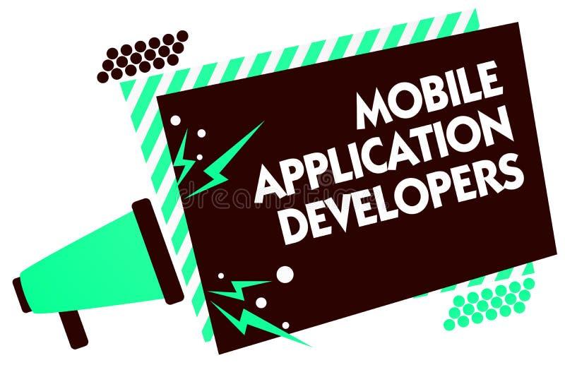 Bärare för applikation för ordhandstiltext mobila Affärsidéen för skapar programvara för apparater som Android megafonloudspeak royaltyfri illustrationer