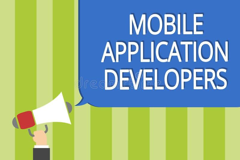 Bärare för applikation för ordhandstiltext mobila Affärsidéen för skapar programvara för apparater som hållande megapho för den A royaltyfri illustrationer