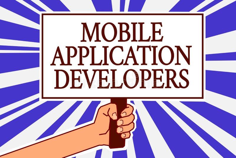 Bärare för applikation för textteckenvisning mobila Det begreppsmässiga fotoet skapar programvara för apparater som den hållande  vektor illustrationer