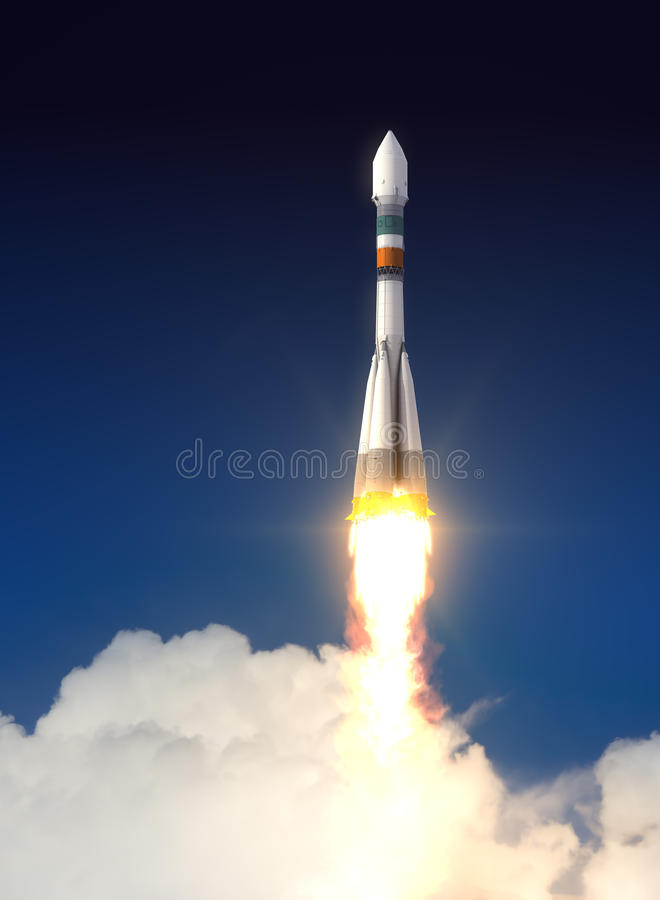 Bärare Rocket Soyuz-Fregat Takes Off royaltyfria bilder