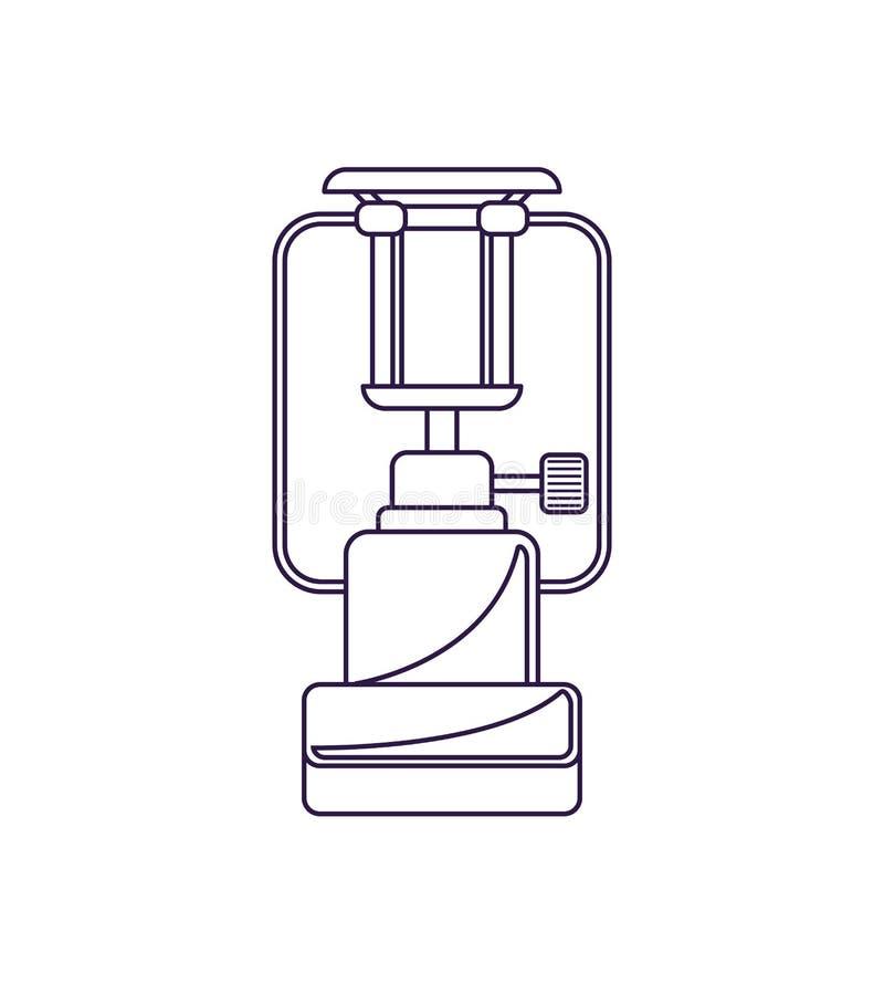 Bärbar campa ugn isolerad vektorsymbol royaltyfri illustrationer