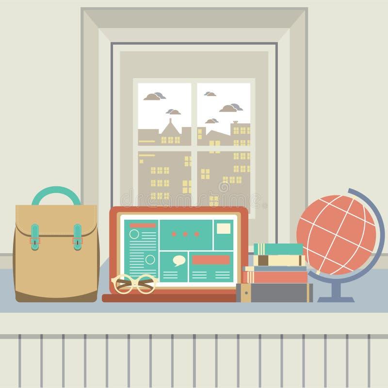 Bärbar dator, böcker, glasögon och skrivbordjordklot på fönsterbräda royaltyfri illustrationer