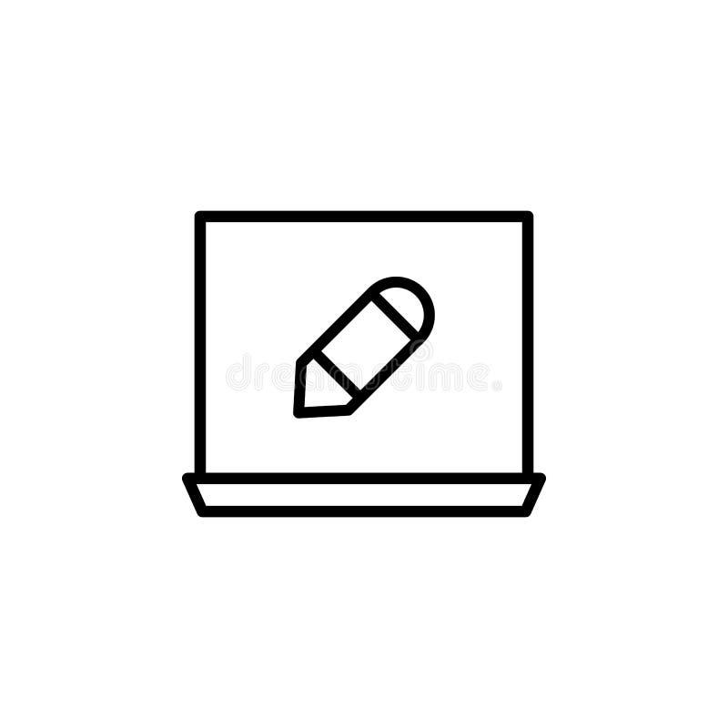 Bärbar dator blyertspennahjälpmedelsymbol Kan användas för rengöringsduken, logoen, den mobila appen, UI, UX vektor illustrationer