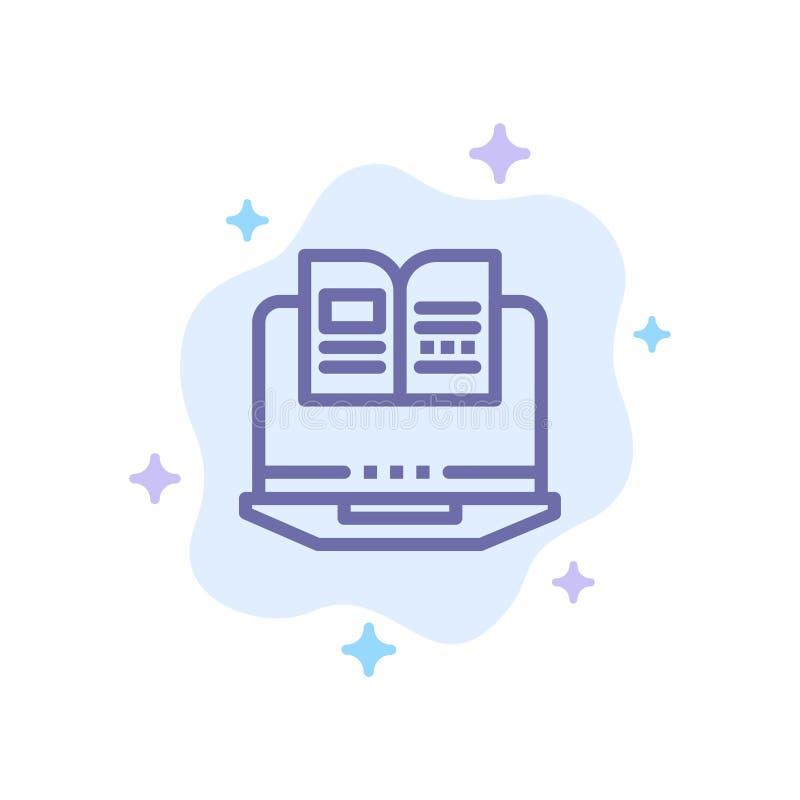 Bärbar dator dator, bok, blå symbol för maskinvara på abstrakt molnbakgrund royaltyfri illustrationer