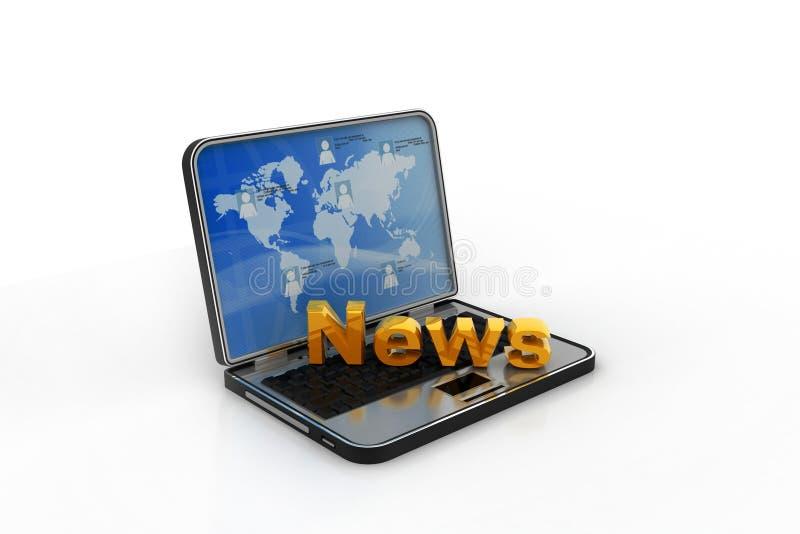 bärbar dator 3d med nyheterna royaltyfria foton