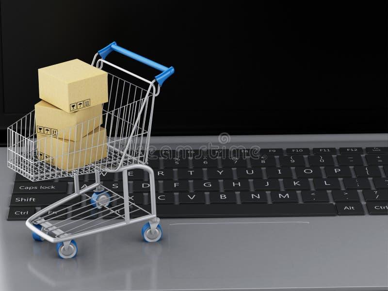 bärbar dator 3d med shoppingvagnen och kartonger stock illustrationer