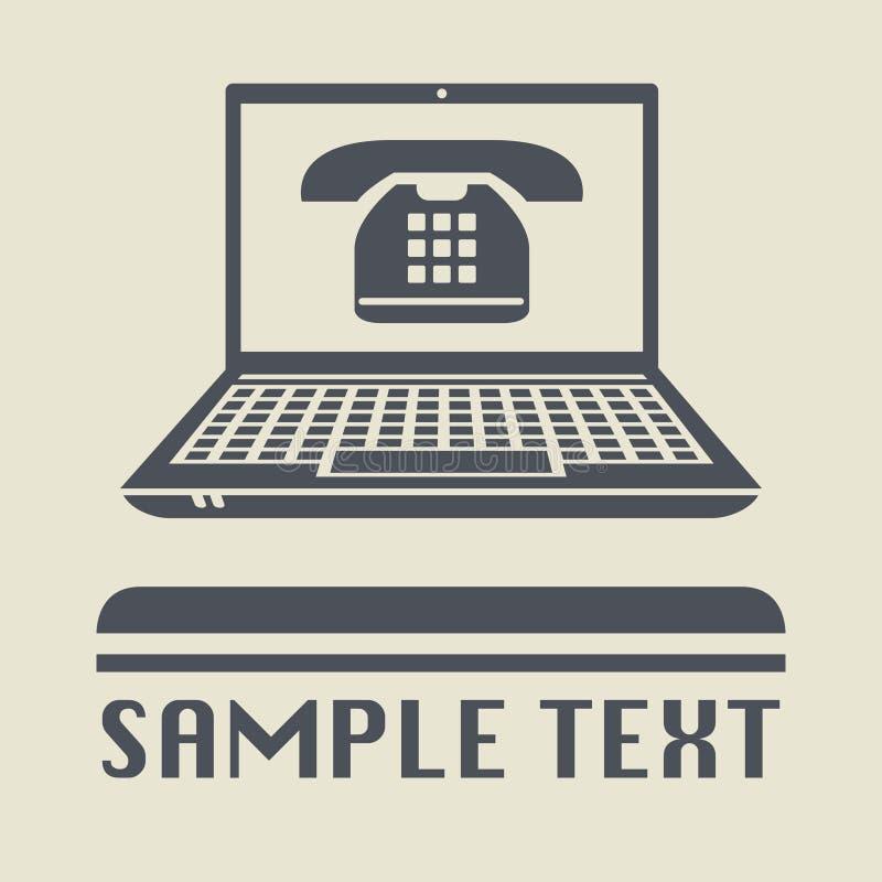 Bärbar dator- eller anteckningsbokdator med den Retro telefonsymbolen vektor illustrationer