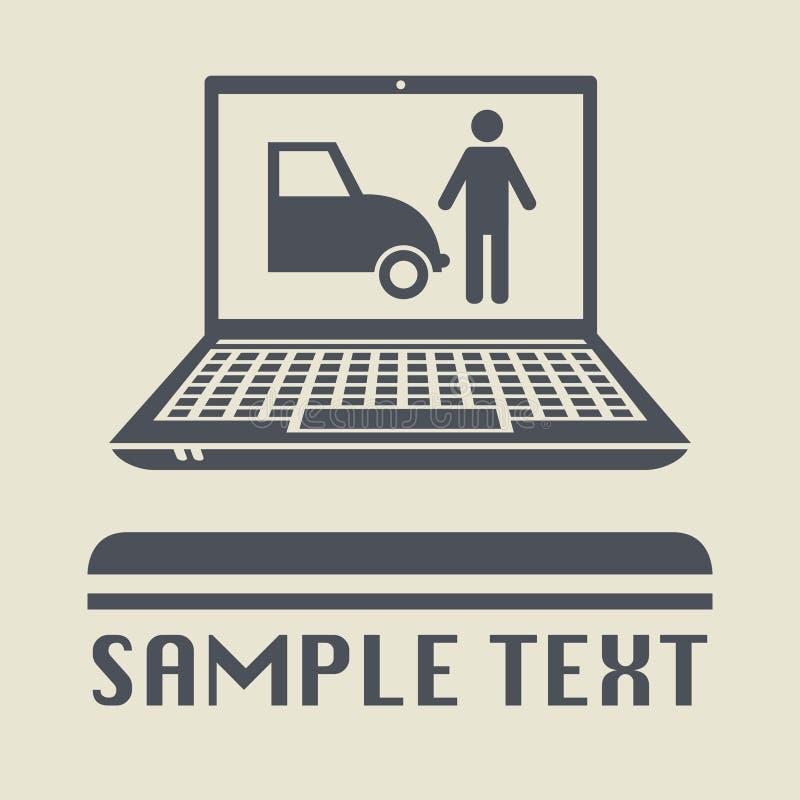 Bärbar dator- eller anteckningsbokdatoren med parkering eller bilen shoppar stock illustrationer