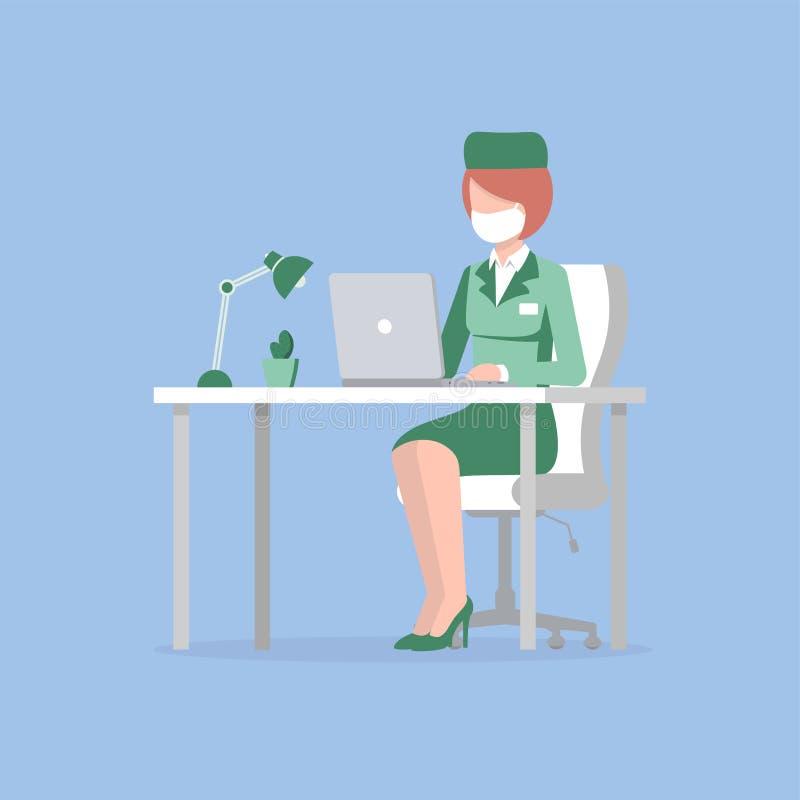 Bärbar dator för doktorskvinnatabell vektor illustrationer