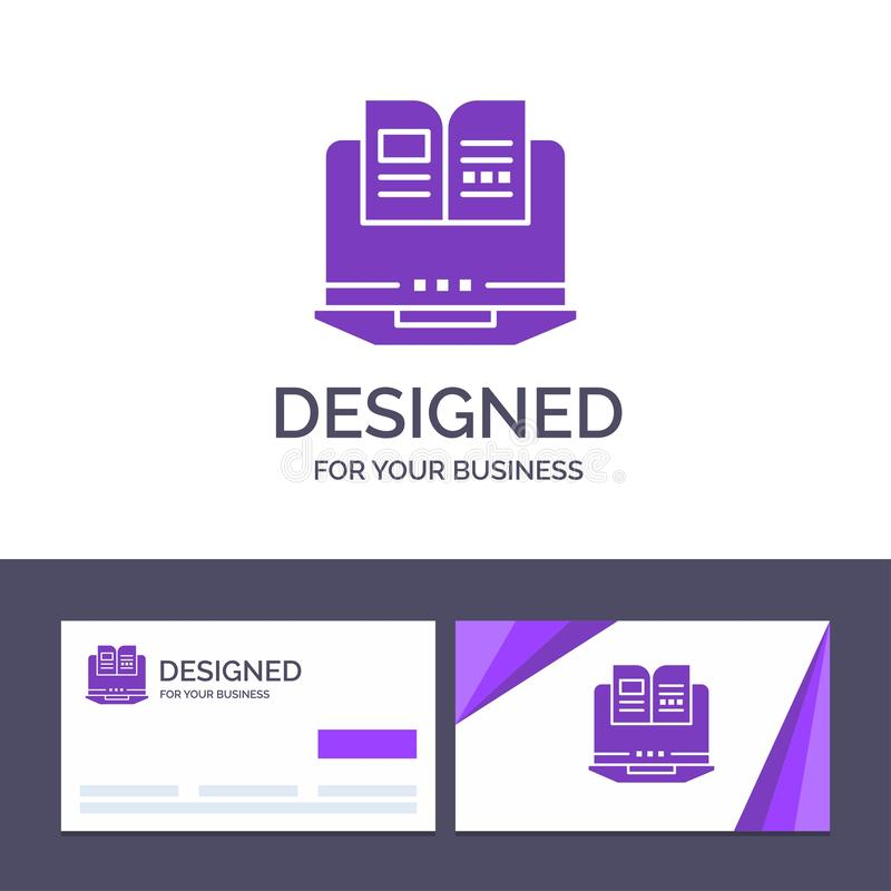 Bärbar dator för idérik mall för affärskort och logo, dator, bok, maskinvaruvektorillustration vektor illustrationer