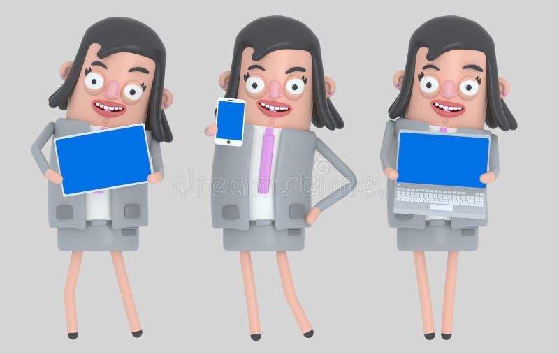 Bärbar dator för innehav för affärskvinna, smarthone och blå skärm för minnestavla isolerat vektor illustrationer