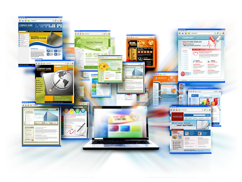 Bärbar dator för internetWebsitedator vektor illustrationer