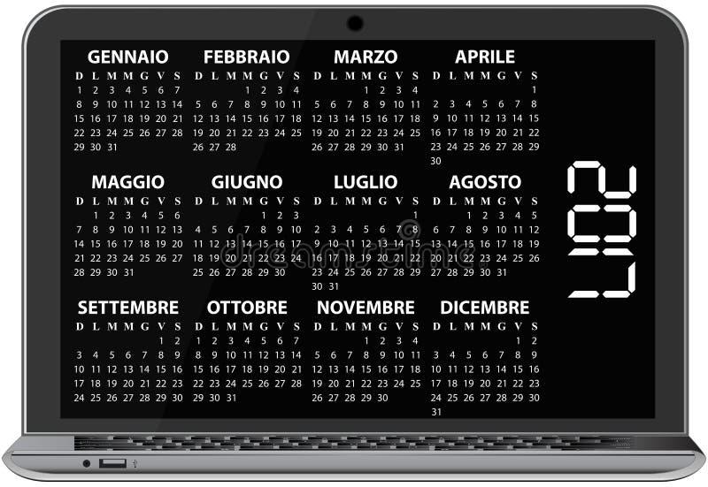 bärbar dator för 2017 kalender stock illustrationer