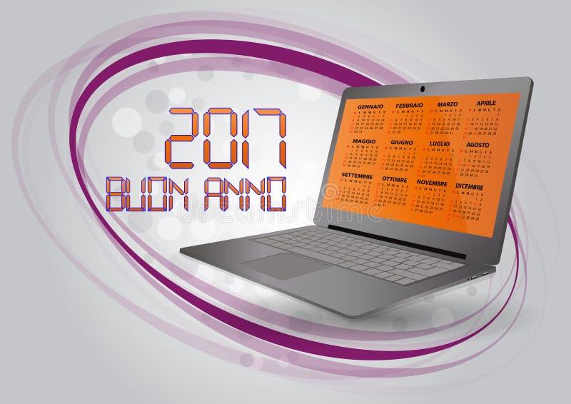 bärbar dator för 2017 kalender royaltyfri illustrationer