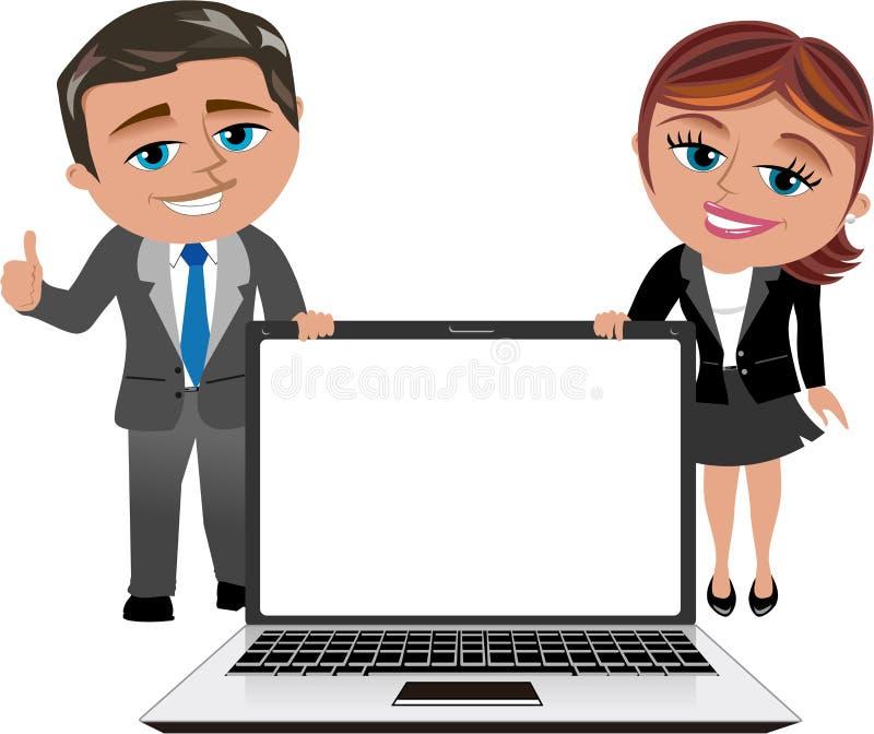 Bärbar dator för visning för affärskvinna och man stock illustrationer
