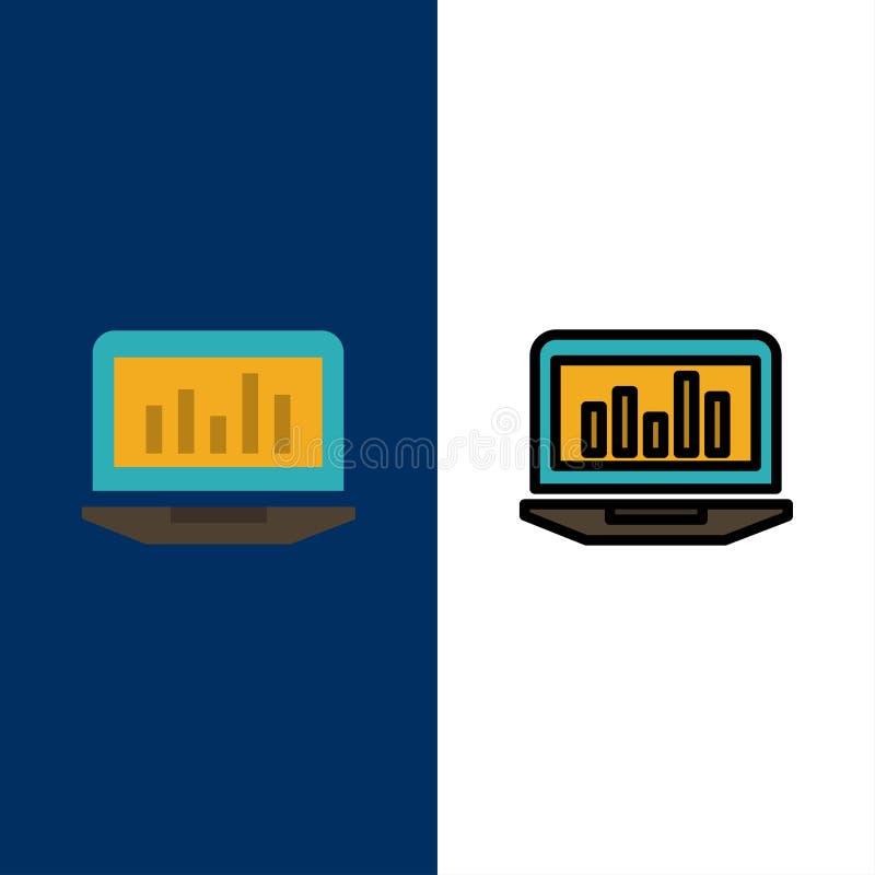 Bärbar dator graf, Analytics, övervakning, statistiksymboler Lägenheten och linjen fylld symbol ställde in blå bakgrund för vekto royaltyfri illustrationer