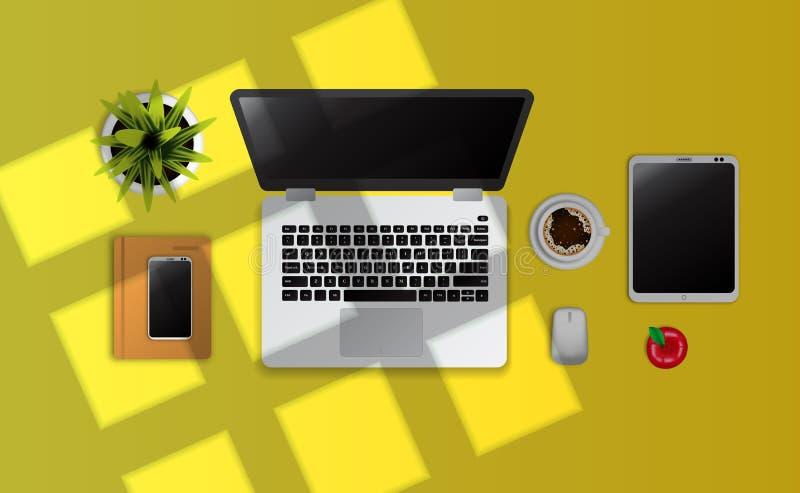Bärbar dator grej, anteckningsbok, en bästa sikt för koppkaffe på det gula skrivbordet med fönstersolljus stock illustrationer