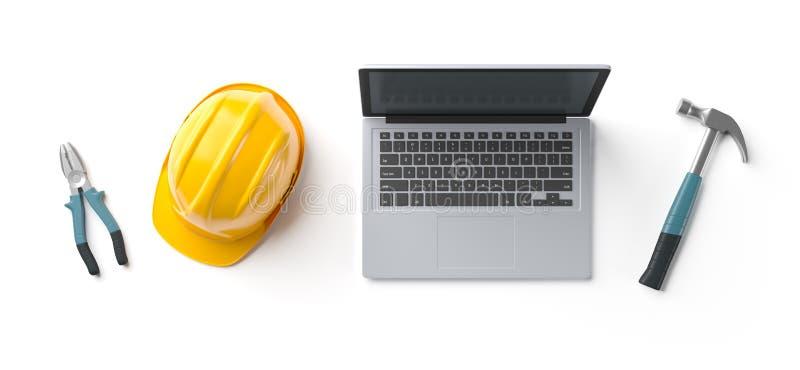 Bärbar dator-, hjälm- och konstruktionshjälpmedel på bakgrund stock illustrationer
