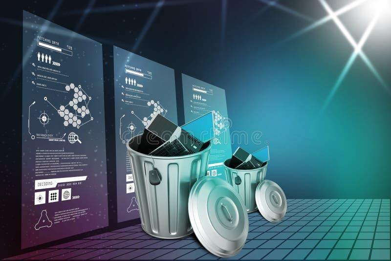 Bärbar dator i avfallfack royaltyfri illustrationer