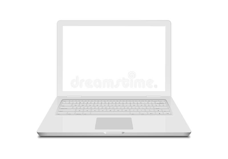 Bärbar dator isolerad vit anteckningsbok på vit Teknologi för bildskärmskärm och tangentbord Modern datordesign för bärbar dator royaltyfri illustrationer
