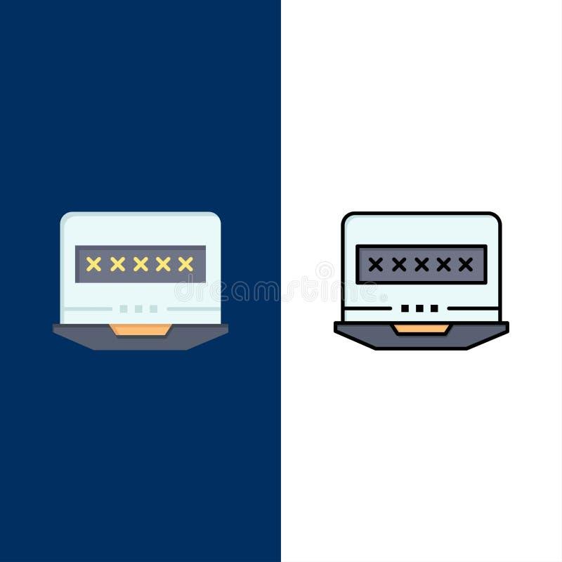 Bärbar dator dator, lås, säkerhetssymboler Lägenheten och linjen fylld symbol ställde in blå bakgrund för vektorn stock illustrationer