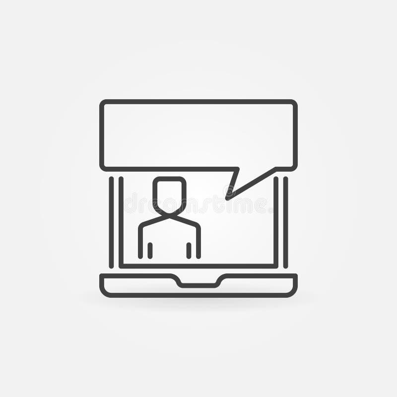 Bärbar dator med anförandebubblasymbolen Vektoronline-servicetecken vektor illustrationer
