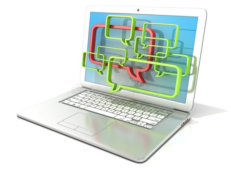 Bärbar dator med anförandebubblor Begrepp av internetblogg- och forumkommunikationer vektor illustrationer
