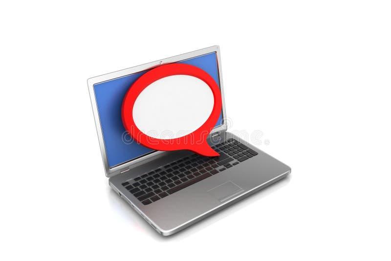 Bärbar dator med att prata bubblan stock illustrationer