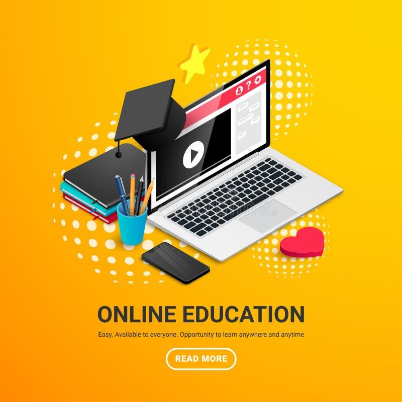 Bärbar dator med banret för avläggande av examenlockarbetsplats stock illustrationer