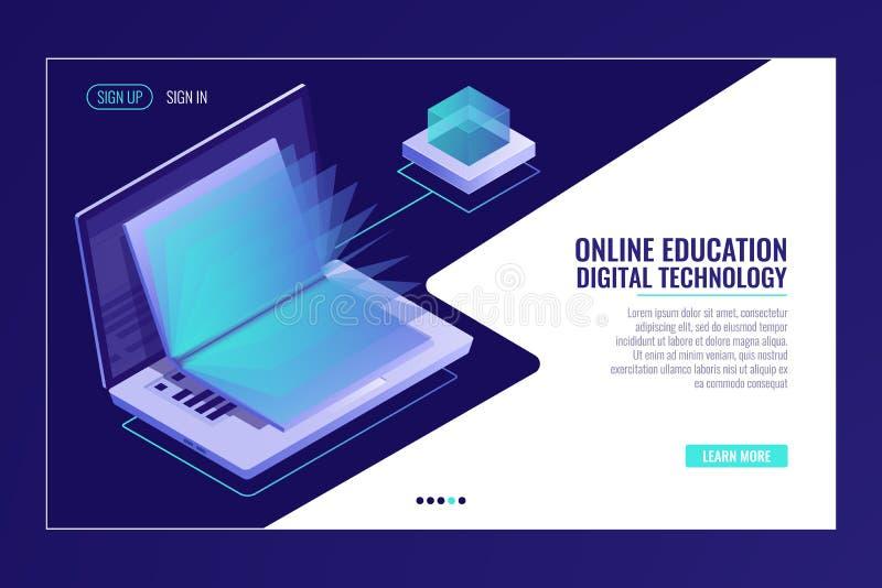 Bärbar dator med den öppna boken som lär online-utbildningsbegrepp, elektronarkiv, isometriskt informationssökande royaltyfri illustrationer