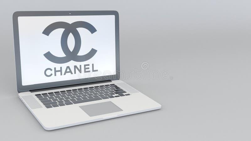 Bärbar dator med den Chanel logoen Tolkning för ledare 3D för datateknik begreppsmässig vektor illustrationer