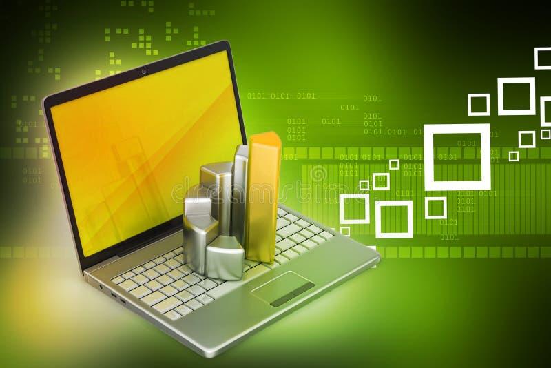 Bärbar dator med den finansiella grafen royaltyfri illustrationer