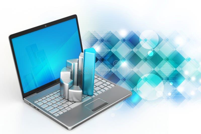 Bärbar dator med den finansiella grafen stock illustrationer