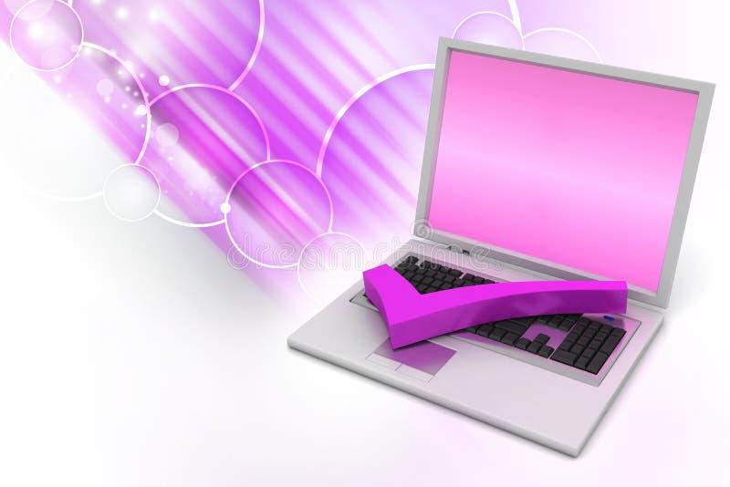 Bärbar dator med den högra fläcken stock illustrationer
