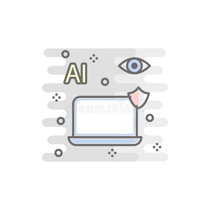 bärbar dator med den kulöra symbolen för ui Beståndsdel av den kulöra smarta teknologisymbolen för mobila begrepps- och rengöring stock illustrationer