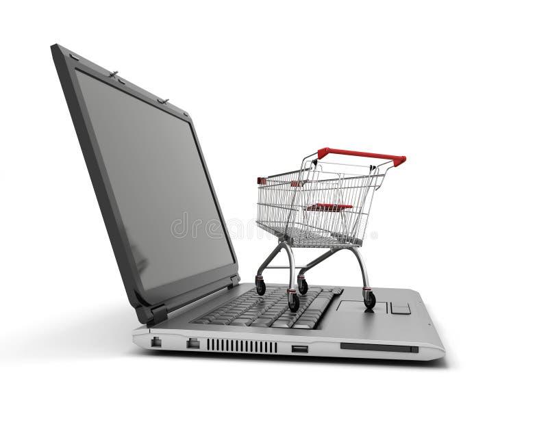Bärbar dator med den lilla shoppingvagnen royaltyfri illustrationer