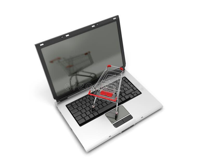 Bärbar dator med den lilla shoppingvagnen på en vit vektor illustrationer